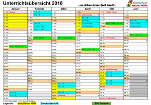 Kalender Blockunterricht 2018